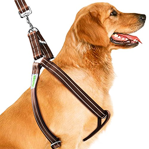 CoolPets Dog Harness Leash Collar Set, No Pull Heavy Duty Pet Harnesses for Large, Medium Dogs, Stop Anti Pulling, Anti-Twist Choke Free dog halter, Easy for Walking, Training, Brown