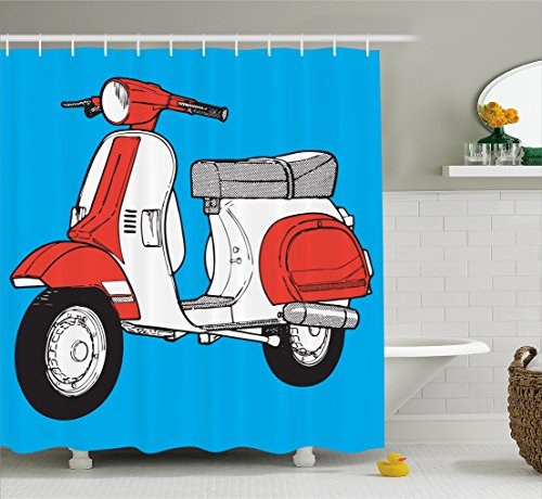 Funky Shower Curtain by Ambesonne, Cute Scooter Motorcycle Retro Vintage Vespa Soho Wheels Rome Graphic Print, Fabric Bathroom Decor Set with Hooks, 70 Inches, Blue Vermilion White (Soho Multi Print)