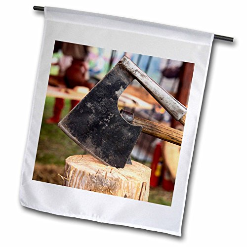- 3dRose Alexis Photography - Objects - Iron cleaver forced into a wooden chunk. Medieval kitchen - 18 x 27 inch Garden Flag (fl_286649_2)