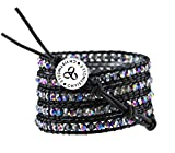 CHRISTINELLE Handmade Leather Wrap Bracelet, Beaded Bracelets for Women, Five Rows Dark Ab Crystals, 36''