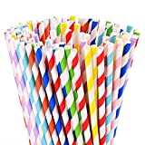 200 Biodegradable Paper Straws Bulk, Assorted Rainbow Colors Stripe Drinking Straws for Juice, Shakes, Smoothies, Wedding, Bridal/Baby Shower, Party Suppliers
