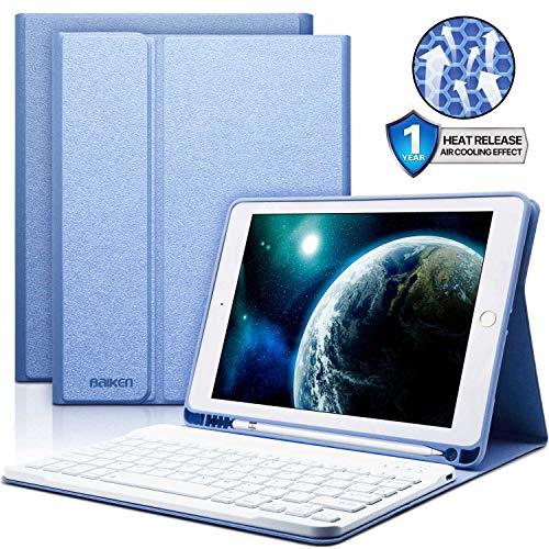 (iPad Keyboard Case 9.7 with Pencil Holder for iPad 2018 (6th Gen)/iPad 2017 (5th Gen)/iPad Pro 9.7/iPad Air 2&1-Bluetooth Wireless Detachable Keyboard - iPad Case with Keyboard (Light Blue))