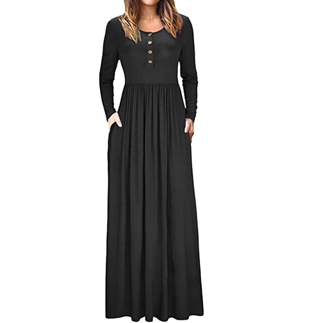 New Tunics for Women Dress, Sttech1 Women Autumn O Neck Casual Solid Maxi Dress Loose Short Sleeve Floor Length Dress Pocket Button Dress (L, Navy)
