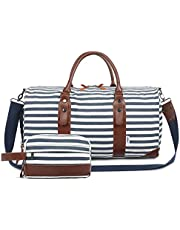 cdbf6468df11e2 Oflamn Large Overnight Bag Weekend Bag Holdalls Travel Duffle Bag Set with  Shoe Compartment Include Toiletry