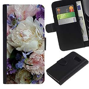 All Phone Most Case / Oferta Especial Cáscara Funda de cuero Monedero Cubierta de proteccion Caso / Wallet Case for Samsung Galaxy S6 // Colorful Delicate Flowers Bouquet