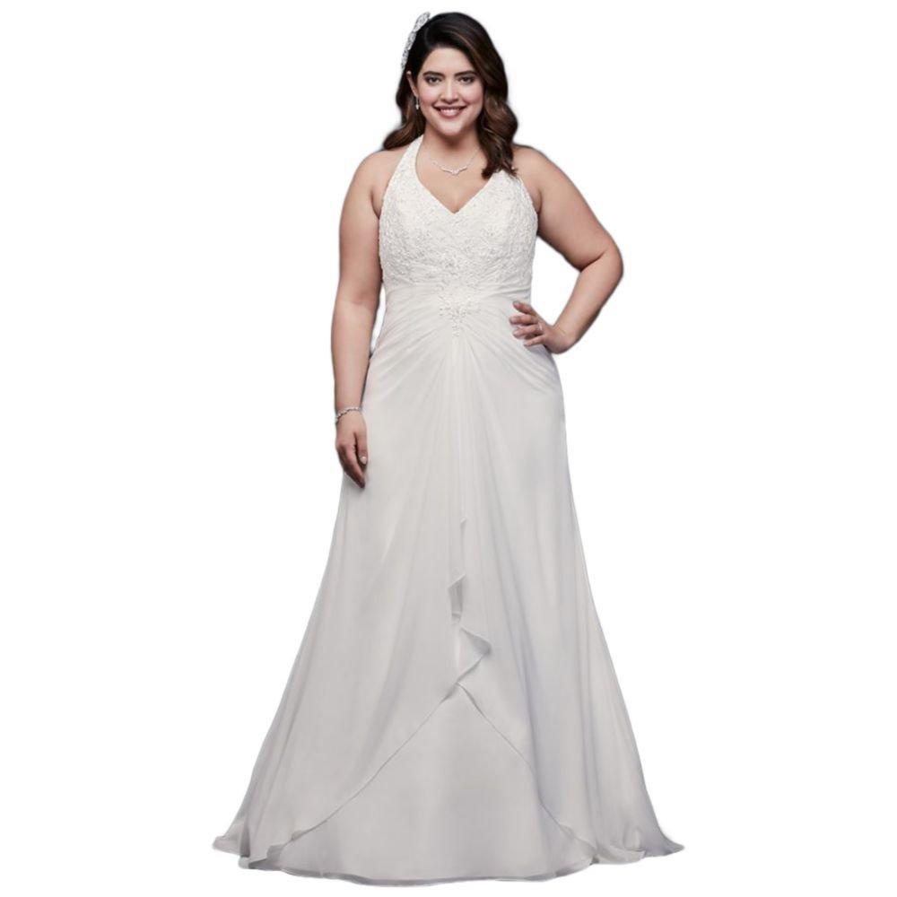Chiffon Halter A-Line Plus Size Wedding Dress Style 9WG3918 at ...