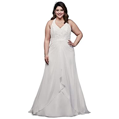 Chiffon Halter A-Line Plus Size Wedding Dress Style 9WG3918 at ...