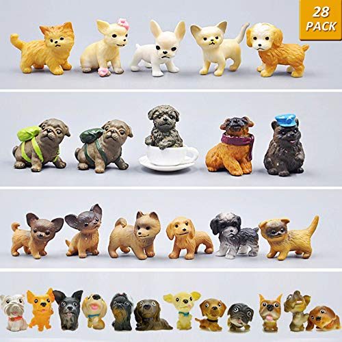(GuassLee Mini Plastic Puppy Dog Figurines for Kids - 28 Pack High Imitation Detailed Hand Painted Realistic Small Dog Figurines Toy Set)