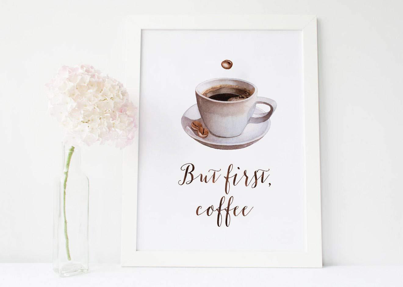 MalertaART But First Coffee Sign but First Coffee but First Coffee Print but First Coffee Printable but First Coffee Decor Kitchen Decor Kitchen Framed Wall Art