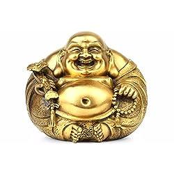 Brass Happy Buddha Figurine Fengshui Laughing Maitreya Statue Smiling Buddha Decor Gift ZG0153 (Small)