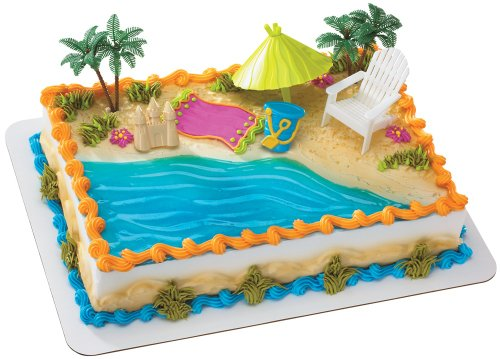 (Beach Chair and Umbrella DecoSet Cake Decoration)