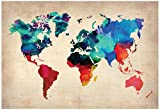 World Watercolor Map 1 Poster by NaxArt 19 x 13in Picture