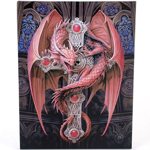 Fantastic Anne Stokes Design - Gothic Guardian - A Red Dragon On A Jewelled