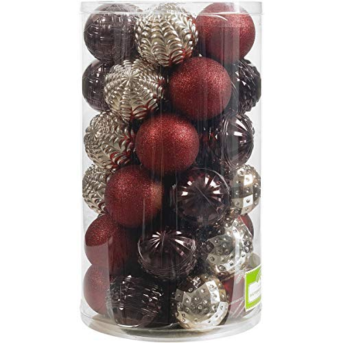 Holiday Time 41-Piece Shatterproof Ornament Set, Dark Red, Brown & Champagne