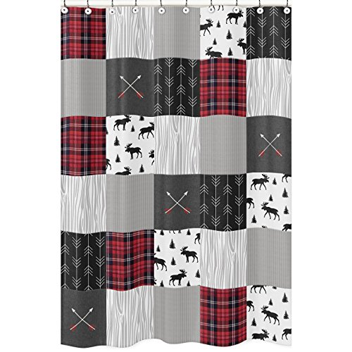 (Sweet Jojo Designs Grey, Black and Red Woodland Plaid and Arrow Bathroom Fabric Bath Shower Curtain for Rustic Patch Collection - Flannel Moose Gray)