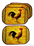 Set 4 Country Rooster Quilted Kitchen Table Place Mats Placemats