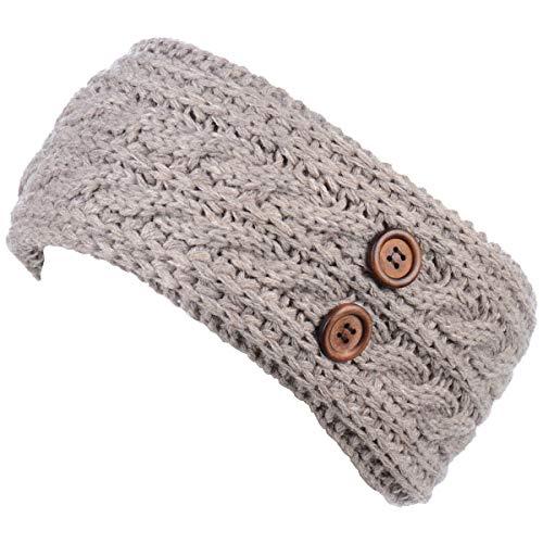 (BYOS Women's Winter Chic Cable Warm Fleece Lined Crochet Knit Headband)