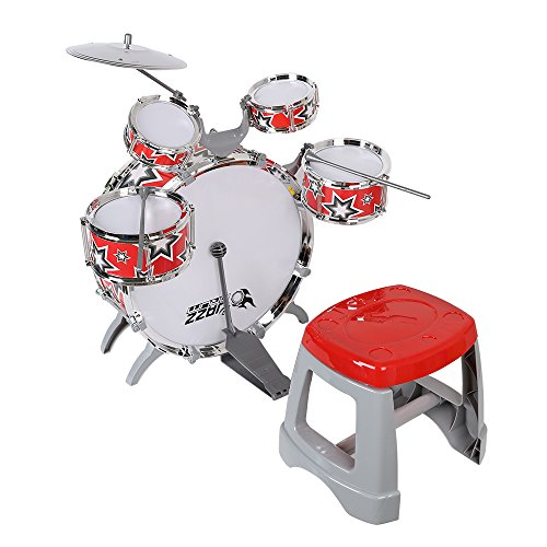 Livebest Red Kid's Musical Instrument Drum Play Set with 5 Drums and Chair