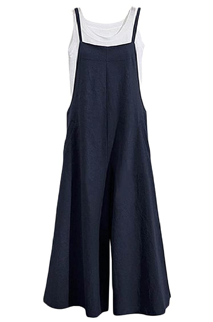 3da8f023486 Coolred-Women Loose Jumpsuit Pure Color Wide Leg Trousers with Braces