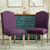 Roundhill Furniture C171PL Mod Urban Style Wood Nailhead Fabric Padded Parson Chair Set of 2, Purple