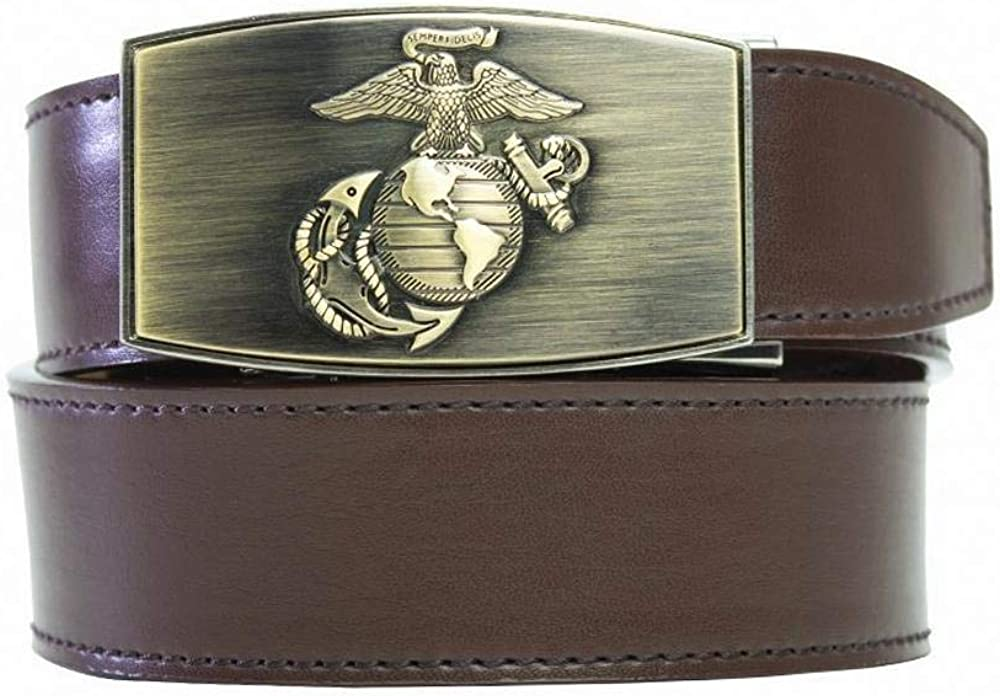 B07FPW8MZT Nexbelt Ratchet System Technology - USMC Series, PreciseFit, Men's Leather Military Belts (Brass Espresso) 513pl2BYaBOL
