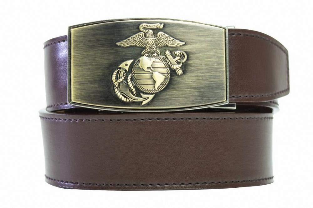 Nexbelt Ratchet System Technology - USMC Series, PreciseFit, Men's Leather Military Belts (Brass Espresso) by Nexbelt