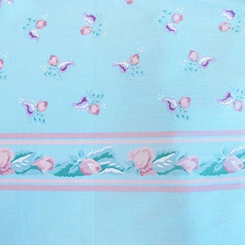 (Rosebud Print w/ border Fabric 100% COTTON 1 YARD Light Teal)