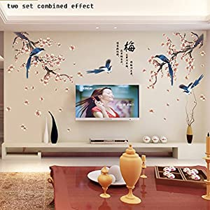 Boodecal Oriental Series 2016 Chinese Calligraphy Poems for Spring Festival Magpie Birds in Blossom Plum Flowers Wintersweet Wall Art Decals Stickers for Tv Sofa Home Art 54*32 Inches