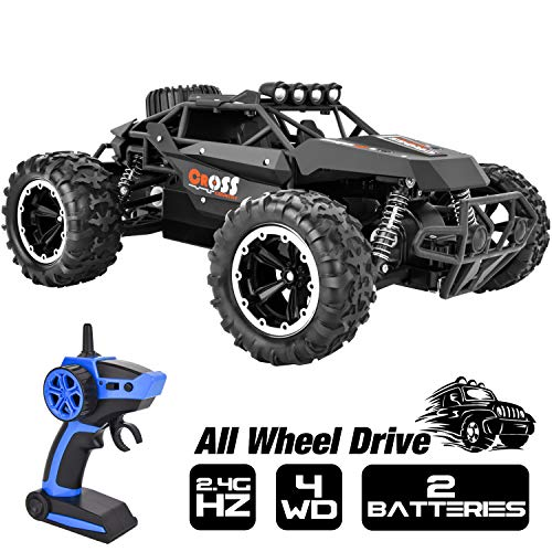 Rainbrace High Speed RC Cars for Boys 1/16 RC Truck Remote Control Car Off Road 4×4 RC Trucks for Kids with 2.4G Radio Control 2 Rechargeable Batteries