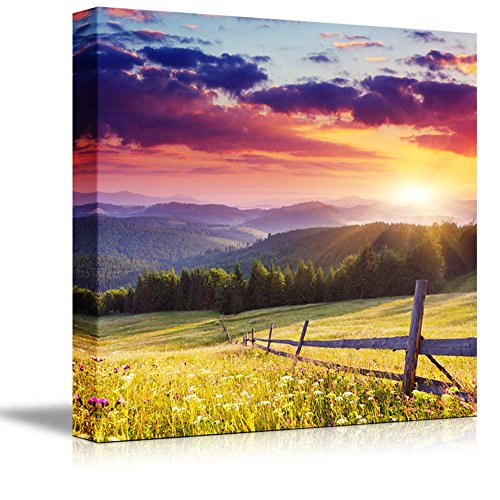 Majestic Sunset in the Mountains Landscape Beautiful Mountain Scenery Wall Decor