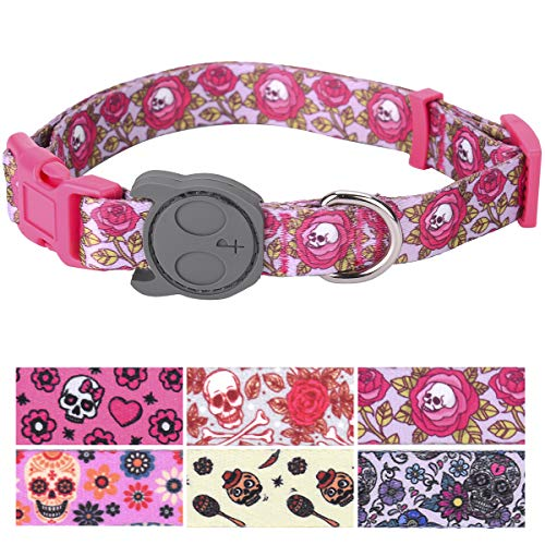 PetANTastic Best Adjustable Medium Dog Collar Durable Soft & Heavy Duty with Halloween Sugar Skull Design, Outdoor & Indoor use Comfort Dog Collar for Girls, Boys, Puppy, Adults ()
