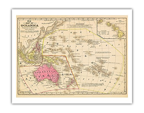 (Map of Oceanica - Australia, Hawaii, Pacific Islands - Vintage Colored Engraved Cartographic Map by James H. Young c.1847 - Fine Art Print - 11in x 14in)