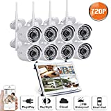SW SWINWAY Security Camera System 720P 8CH 12 Inch Wireless Video Surveillance System, Bullet IP66 Outdoor Wireless Camera Day Night Home Security Camera System