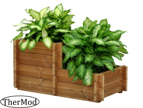 Organic gardening wood Planter box TherMod Fiona