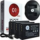 DOT-01 3x Brand Canon EOS M100 Batteries and Dual Slot USB Charger for Canon EOS M100 DSLR and Canon M100 Battery and Charger Bundle for Canon LPE12 LP-E12
