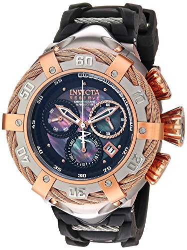 Invicta Men's Bolt Stainless Steel Swiss-Quartz Watch with Silicone Strap, Black, 30 (Model: - Chrono Collection Pearl