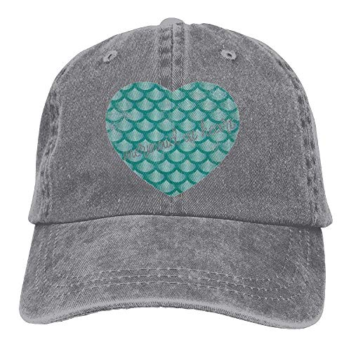 Hat Mermaid Womens At Adjustable Heart Gorras béisbol Baseball Mini Hat Denim Yuerb n8wYBS1