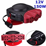 Fastar Car Auto Ceramic Heater Defroster Demister Cooling Fan for Vehicle Windscreen 3-outlet 12V 150W (Black and Red)