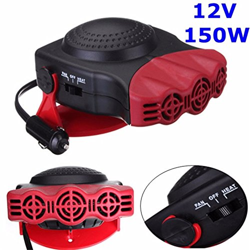 Sundlight Car Heater, Portable 12V 150W Vehicle Heating Defrosts Defogger Auto Ceramic Car Cooling Fan Heater with Fan,6.69