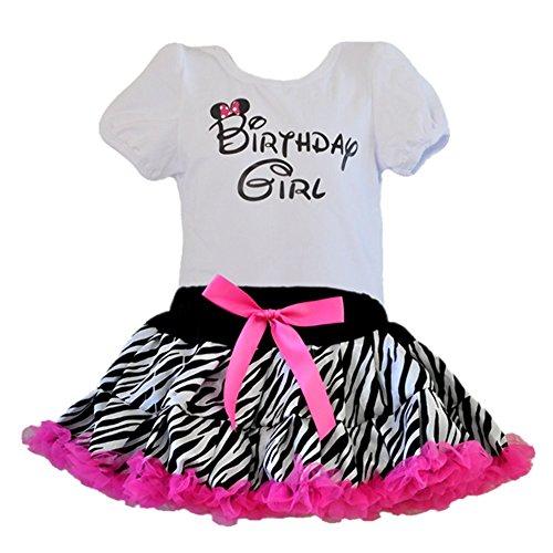 Birthday Girl T-Shirt with Zebra Print Tutu 2 Pcs Set (Age 4-BGZ)