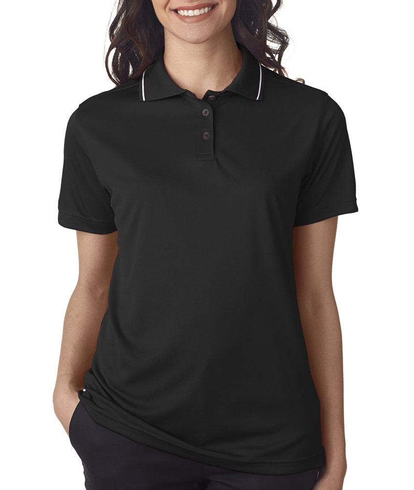Ultraclub Ladies Polo with Tipped Collar 8394L -Black/ White L