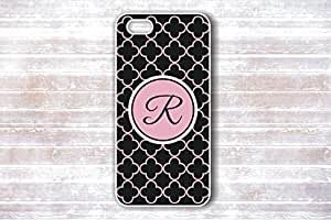 Fashion Gift Black Quatrefoil Pink Monogram - Personalized Protective Snap-on Case for Samsung G9250 GALAXY S6 edge