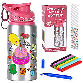Poscoverge Color Your Own Water Bottle for Girls with Glittering Rhinestone Gem Stickers and Watercolor pens! BPA Free 20 oz Kids Water Bottle for Girl, Fun DIY Art and Craft, Birthday Gift for Kids