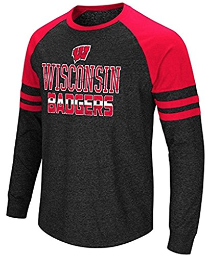 ColosseumメンズUniversity of Wisconsin Badgersハイブリッド長袖ラグランTシャツ B078WLKXSCXXXXX-Large Tall