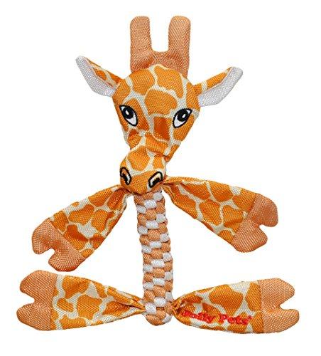 Jolly Pets Giraffe Animal Flathead Tug/Squeak Toy, Large Time Giraffe