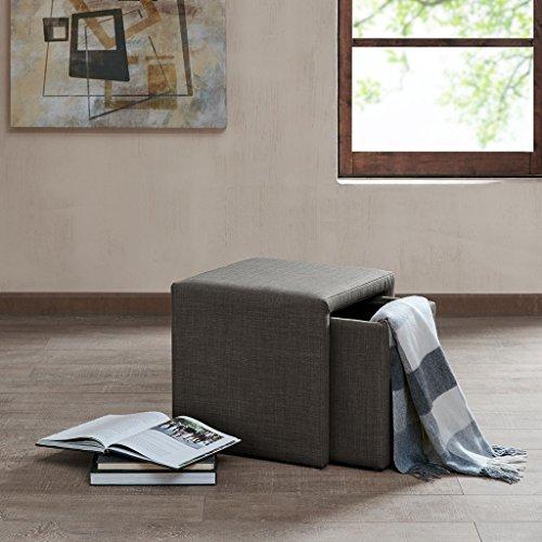 Madison Park Calvi Charcoal Grey Storage Accent Table Park Rectangular Leg Table