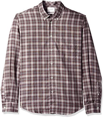 Billy Reid Men's Standard Fit Button Down Tuscumbia Shirt, Burgundy/White Shadow Plaid, XL