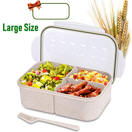 Bento Box for Kids Lunch Box Lunch Container for Adults, Leak Proof Bento Lunch Container, BPA Free Kids Bento Box, Portion Control Containers, Wheat Fiber Safe Healthy (transparent, rectangle-large)