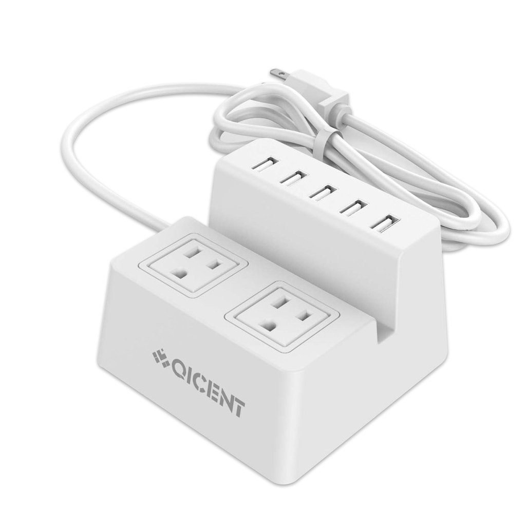 Amazon.com: QICENT 2-Port Surge Protector Surge Protector with USB ...