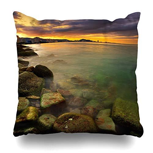 (Ahawoso Throw Pillow Cover Square 16x16 Cityscape Sunset Over City Ocean Rocks Foreground Nature Asia Parks Coast Coastline Dawn Dusk HDR Design Zippered Cushion Case Home Decor Pillowcase)